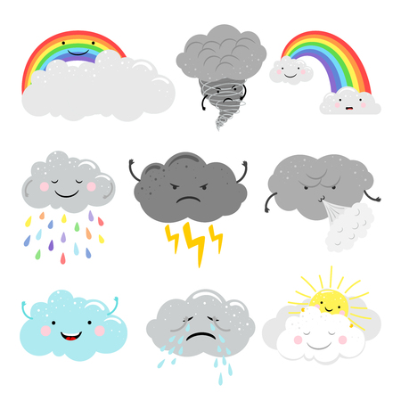 Cute cartoon characters vector weather icons set with emotional clouds
