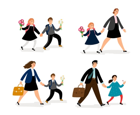 People go to school. Parents lead their children to school flat vector, cartoons kid with mom and dad going to study, first september