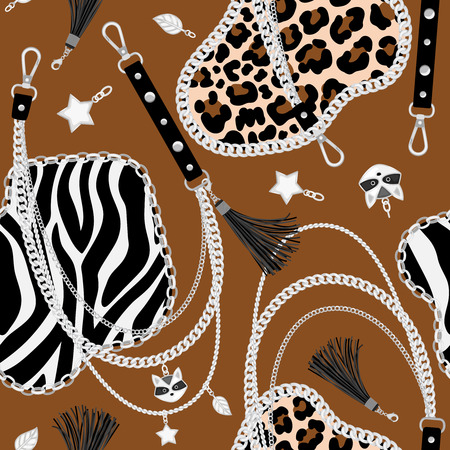 Tiger chains pattern. Abstract fur leopard or tiger seamless illustration with chained leather and animal belts, leopards luxury print, vector illustration Ilustração