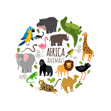Cartoon african animals printable vector banner isolated on white background Stock Illustratie