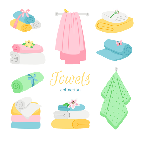 Set of bath colored towels. Roll and pile. Cotton towel for bathroom or beach illustration