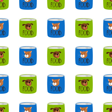 Pet shop seamless pattern. Preserve food for cats and dogs vector texture. Illustration of cat and dog food
