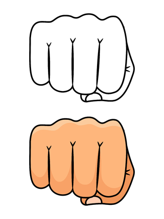 Fist punch vector illustration. Strong and power man symbol. Fist power, strong hand human arm