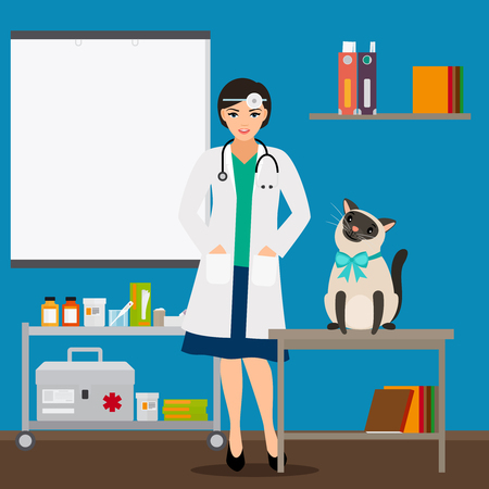 Veterinarian and cat in doctor office vector illustration. Medical veterinarian doctor, health care veterinary Vector Illustration
