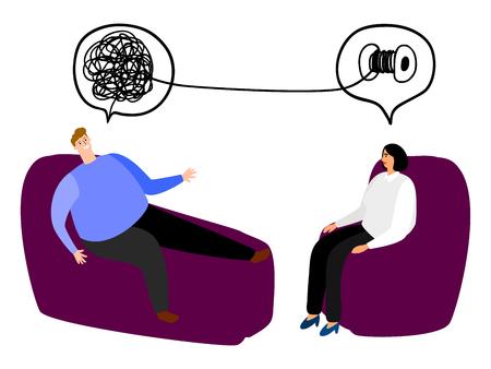 Szczęśliwy człowiek w fotelu ilustracji wektorowych psychoterapii. Metafora mózgu splątanego i rozplątanego. Koncepcja wektor wyniki psychoterapii. Psychoterapia i psychiatra, poradnia psychiatryczna kobieta Ilustracje wektorowe