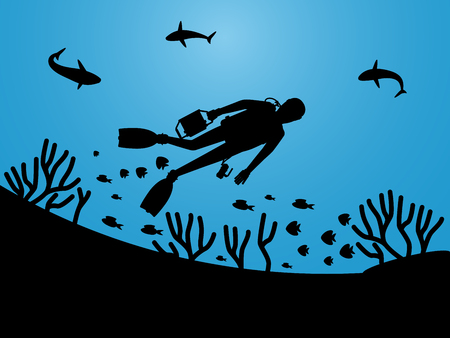 Undersea life silhouettes with scuba diver vector background. Illustration of diver in marine water, scuba diving Illustration