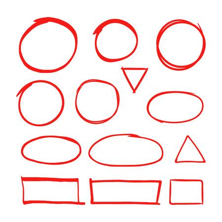 Indicatore di forme disegnate a mano rosso per evidenziare il testo isolato su sfondo bianco. Pennarello rosso disegno, disegnato a mano, illustrazione del cerchio