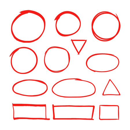 Red hand drawn shapes marker for highlighting text isolated on white background. Marker red drawing, hand drawn, circle illustration