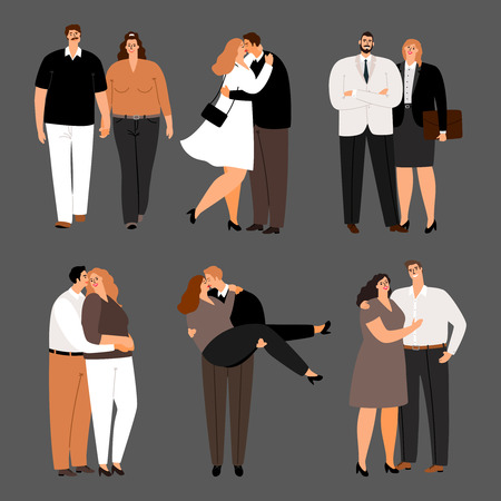 In love couples, plus size women and men vector set. Illustration of couple man and woman, people husband and wife Illustration