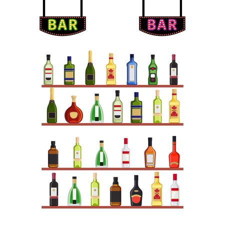 Neon signs Bar and shelfs with alcohol bottles vector illustration. Alcohol bottle on bar shelf, champagne and cognac