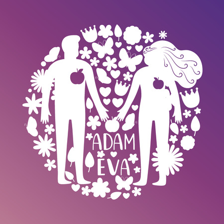Adam and eve silhouettes, couple in love with flowers and birds vector concept. White silhouette eve and adam with flower illustration