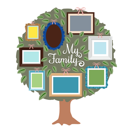 My family genealogy tree with retro frames on the foliage. Generation tree with place for photo illustration