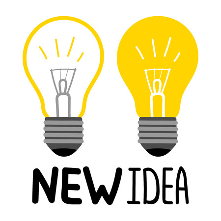 Light bulbs vector isolated on white background - new idea concept. Illustration of innovation light bulb, new lightbulb creative Vettoriali