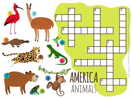 Amerika-Tiere stellten Kinderkreuzworträtsel-Vektorillustration ein. Affe und Lama, Frosch und Schnabeltier