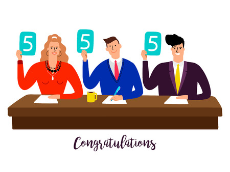 Competition jury. Contest judges with score panels at table vector concept. Illustration of competition rating jury, contest group people