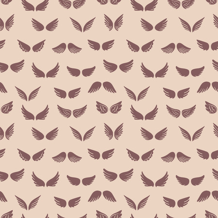 Wings silhouettes seamless pattern. Fashion vintage texture with angels wings. Illustration of angel wing endless, angelic flight Ilustración de vector