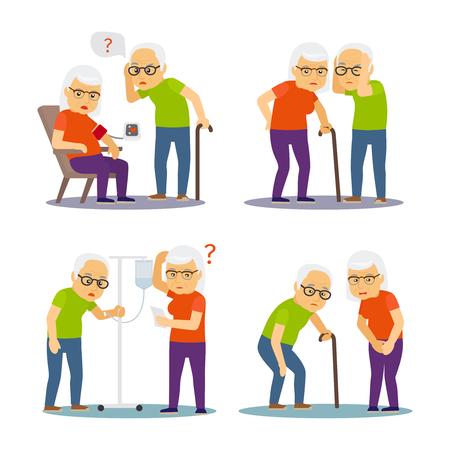 Old man and woman sick. Old mens, womens disease vector illustration. Old woman and man elderly retirement Vektoros illusztráció
