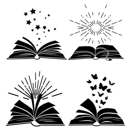 Siluetas de libros negros con mariposas voladoras, estrellas y rayos de sol, ilustración vectorial