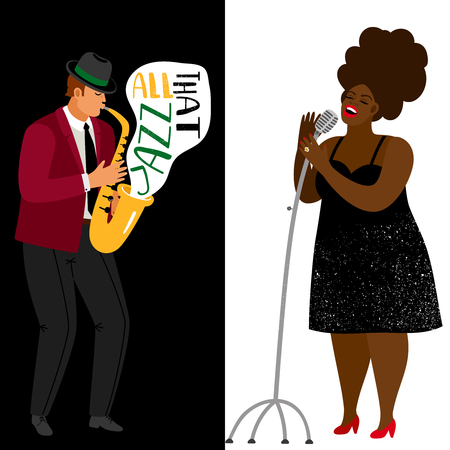 Jazz musician and afroamerican singer vector banners template. Jazz songstress performance, headliner vocalist on concert illustration Illustration