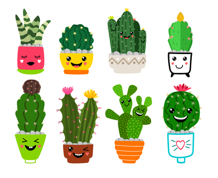 Smiling cacti. Funny cactus friends with flowers, cartoon cute desert plants in pots, happy cacti houseplant pots garden with smiles, vector iconsSmiling cacti in pots Vector Illustration