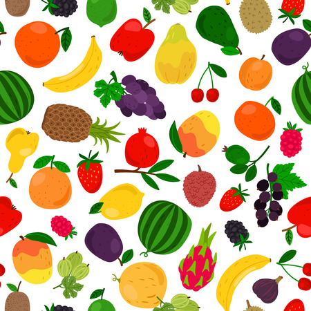 Fruits tropical seamless pattern. Vector fruit drawing illustration texture, papaya and mango, pineapple and citrus organic backdrop Ilustração