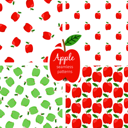 Apple seamless pattern, green and red fruits. Background fruit food. Vector illustration