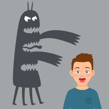 Scared boy and fear monster vector illustration. Man and monster shadow, boy scared