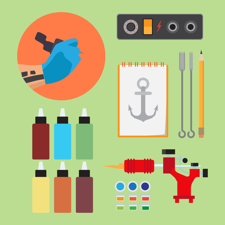 Paints and tools for tattooing flat vector set on light green background