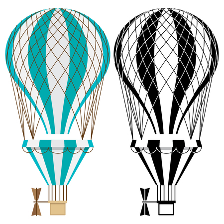 Hot air balloons. Colorful and black and white aerostat vector isolated on white background. Aerostat flight transport, air balloon, ballooning journey illustration 向量圖像