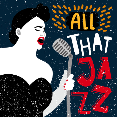 Music banner with female singer. All that jazz vector illustration. Performance woman jazz vocal, talent vocalist