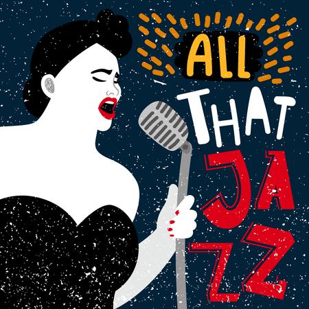 Musikfahne mit Sängerin. All diese Jazz-Vektor-Illustration. Performance-Frau Jazz-Gesang, Talent-Sängerin