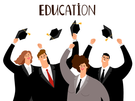 Adult education, male and female graduates vector concept Illustration