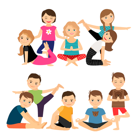 Boys and girls groups in yoga poses vector illustration