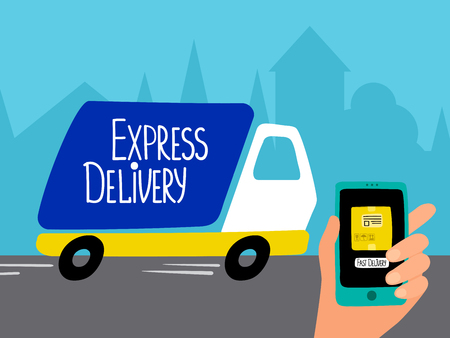 Online delivery service vector concept. Delivery truck, hand with phone and city silhouette. Illustration of tracking service cargo, parcel delivery