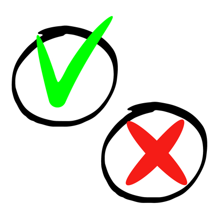 Hand drawn marker does and dont icons isolated on white background