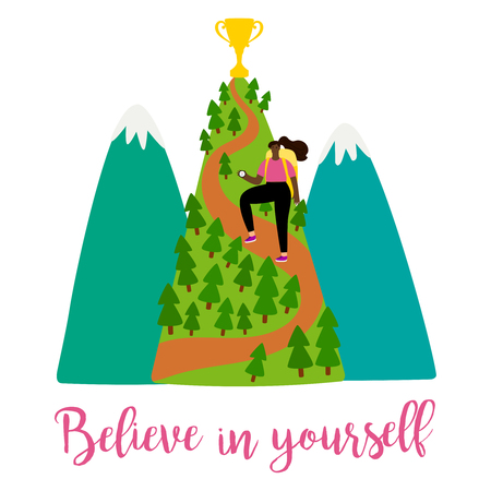 Positive motivation female vector illustration with girl, mountains and trophy on the top. Mountain achievement leadership, cup on peak illustration Vetores
