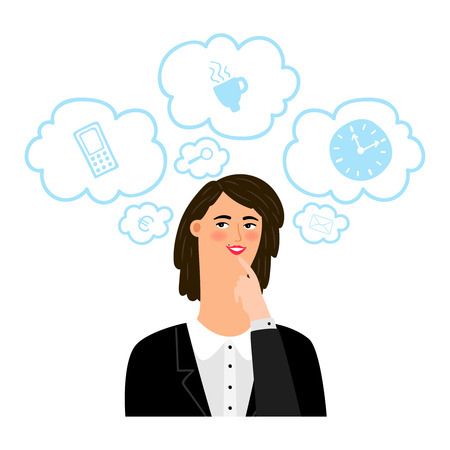 Businesswoman thinks about different business things vector concept. Business person, woman think about coffee and time illustration