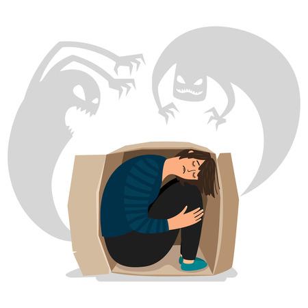 Scary depressed monsters and sad girl vector illustration. Character imagination, frightened childhood Ilustração