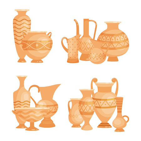 Vector ancient vases, bowls and goblets isolated on white background. Illustration of pottery and amphora, bowl and goblet made of earthenware Ilustración de vector