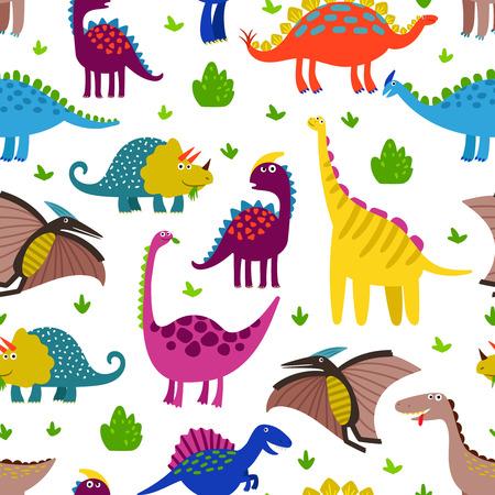 Cute colored dinosaurus seamless pattern vector design. Illustration of seamless background dino, animal dinosaur character