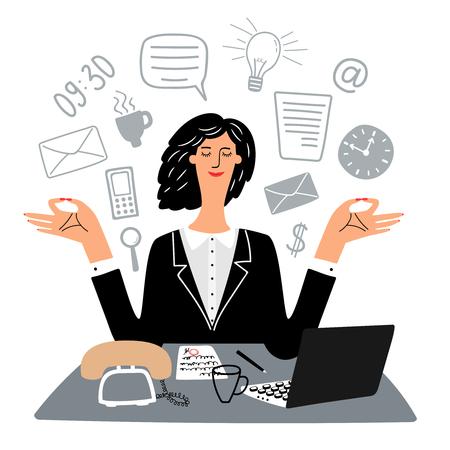 Secretary woman quietly meditates in workplace. Vector workplace office of secretary, meditation and calm illustration