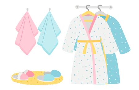 Peignoirs, pantoufles et serviettes pour hommes et femmes, éléments vectoriels. Illustration de peignoir et serviette, vêtements pour salle de bain