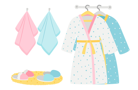 Male and female bathrobes, slippers and towels vector elements. Illustration of bathrobe and towel, clothing for bathroom