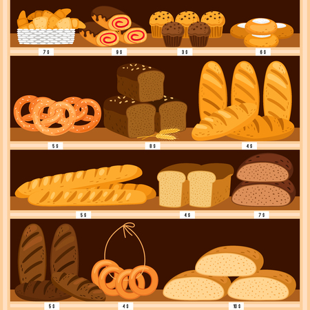 Grocery breads shelves. Bread and fresh pastries wood showcase, bakery products in wooden interior. Bagel and brown sliced loaf, donut and cheesecakes vector illustration Stock Illustratie