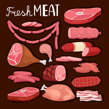 Sausages illustration. Fresh meat and boiled sausage, salami and chicken, raw sliced pork tenderloin and cooked ham for barbeque meal and gourmet shopping vector illustration