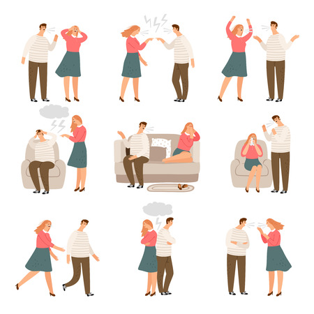 Unhappy family. Husband and wife or couple of people during conflict, characters vector illustration Illustration