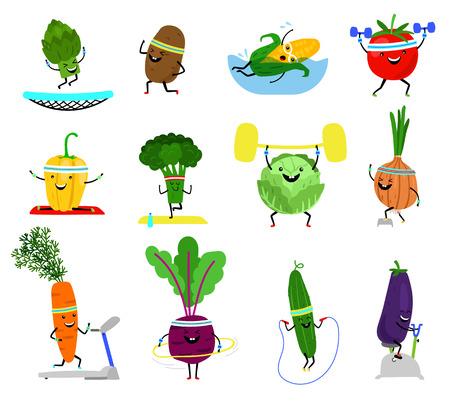 Personajes deportivos de verduras. Comida vegetal de bienestar divertido con caras risueñas en el ejercicio deportivo, zanahoria de brócoli, ilustración de vector de pepino de pimiento amarillo