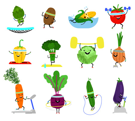 Vegetables sports characters. Funny wellness vegetable food set with laughing faces in sport exercising, broccoli carrot, yellow pepper cucumber vector illustration