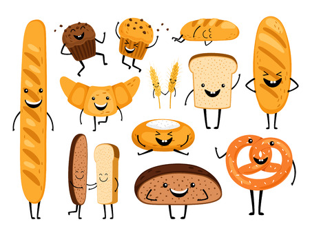 Bread characters. Funny tasty bakery pastries, cartoon happy breads faces character set, kawaii croissant and pastry, cute chocolate muffin and baguette expression vector illustration Ilustração