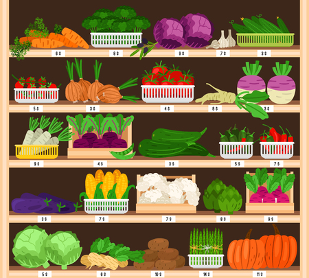 Vegetables on shelves. Market vegetable stall with prices, eco supermarket ripe healthy organic grocery sale, tomato and pumpkin, garlic and corns vector illustration